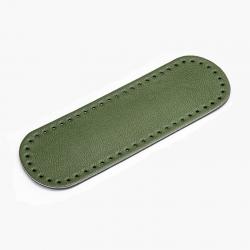 Fondo ovale in vera pelle - Colore Verde - 30x10 cm