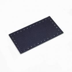 Fondo rettangolare in vera pelle - Colore Blu - 19,5x10,5 cm