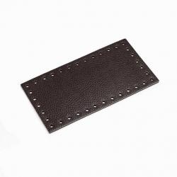 Fondo rettangolare in vera pelle - Colore Testa di moro - 19,5x10,5 cm