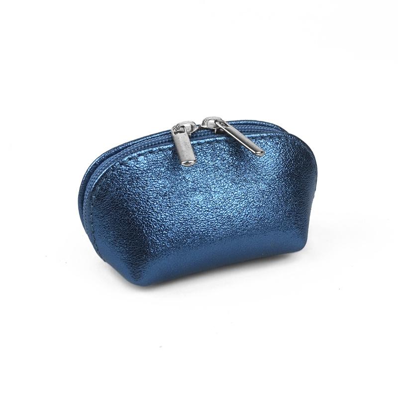 25b87c5f6 Genuine leather Coin purse, light blue metallic color